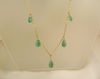 Emerald necklace smooth briolettes 14k gold filled organic gemstone handmade 18 inches item 866