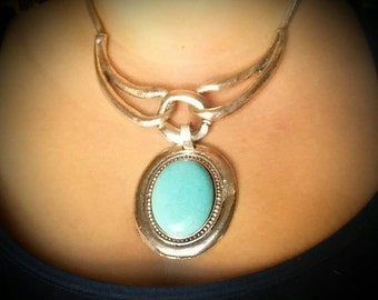 After Life Accessories Repurposed Silver Turquoise Statement Necklace