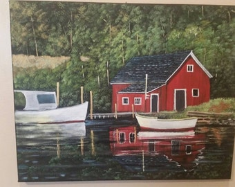 Water Scene with Red Fishing Shack and boats and Reflections in water.