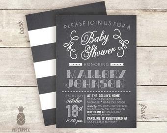 Chalkboard Neutral Baby Shower Invitations