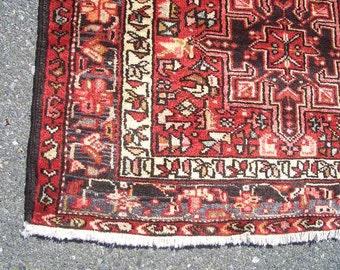 Persian Rug - 1980s Hand-Knotted Karaja Persian Rug Runner (3133)