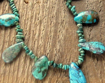 Turquoise Necklace,  Chunky Necklace, Statement Necklace, Bohemian Jewelry, Genuine Turquoise, Tribal Style