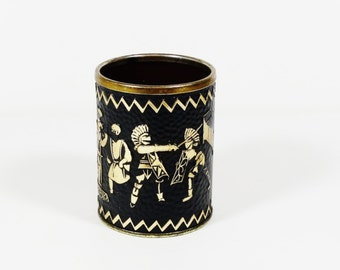 Midcentury Pencil Cup - Vintage Office - Brass and Cork Warriors - Knights  in Armor - Japan