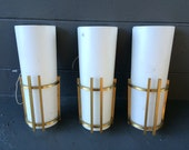 3 Art Deco Sconces - Brass and Milk Glass