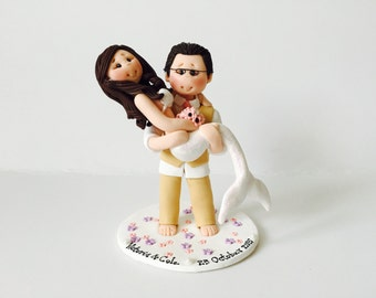 Personalised bride and groom mermaid wedding cake topper