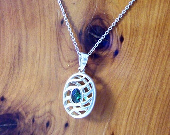 Vintage Silver Green Pendant Necklace, Sterling Silver Cage Pendant, Green Rhinestone Silver Pendant, Silver Choker