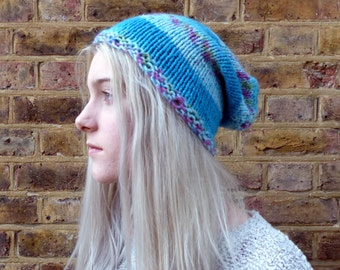 Handmade Bright Bue Stripe Knitted Slouch Hat