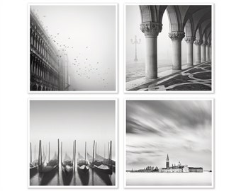 Set of 4 prints, A Modern Wall Art Print Set of Classic Venice Photography, Gallery Wall Decor, Venice Art Wall