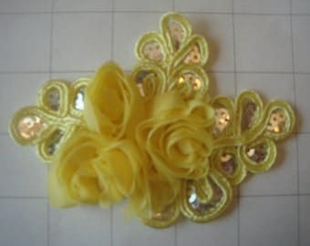 """Yellow Flower and Sequins Braided Applique 4 1/2"""" by 3 1/4"""""""