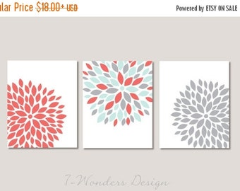 ON SALE Floral Bursts Botanicals Wall Art Print Set of (3) 5 x 7, 8 x 10 or 11 x 14 // Coral, Mint,Gray // Modern Home Decor