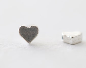 Tiny Heart Sterling Silver Charm - 925 sterling silver, side drilled small little heart charms