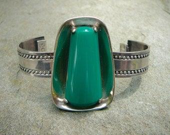 Green Bracelet, Onyx Bracelet, Taxco Silver Bracelet, Vintage Bracelet, Signed Bracelet, Mexican Bracelet, Modern Bracelet, Taxco Jewelry