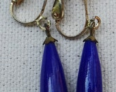 Vintage Teardrop Clip On Earrings in Blue Acrylic and Gold Tone Hardware