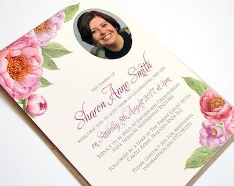 Funeral Memorial Announcement or Invitation - Peony Memories Printable PDF File