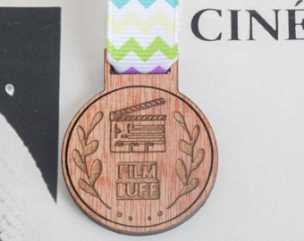 Film Buff Medal for Modern Achievements ~ movie geek award / cinema medal / brooch / badge