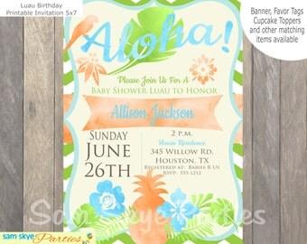 Luau Baby Shower Invitation, Aloha Baby Shower, Pineapple Invitation, Tropical Invitation, Birthday Luau