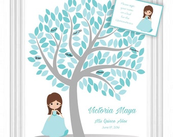 Quinceañera Guest Book 16x20 Sign-In Tree - Sweet 16 Guestbook Alternative - 150 leaves -READ DESCRIPTION-Other colors