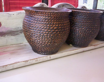 Vintage plaster pot/plaster planter pot/Rustic plaster planter/Vintage paster planter/Fall plaster planter pot/Home decor planter/4'' pot
