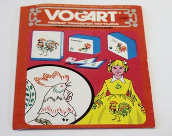 Embroidery Transfer Pattern - Vogart Repeat Transfer Patterns: 646 Rooster Designs UNCUT for Embroidery or Ball Point Painting