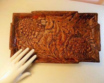 SYROCO chrysanthemum tray faux wood design lovely vanity cool kitchen display tray storage home decor christmas gift etsy love unique rare