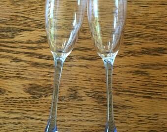 Vintage light blue long flute champagne glasses