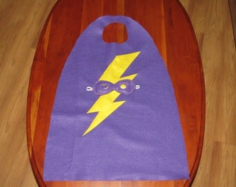SALE Cape & Mask 3 to 7 years Ready to Ship Super Hero Purple Cape Yellow Lightning bolt Purple mask with gold stitching and elastic band