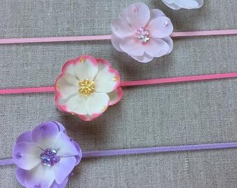 Small silk flower headband