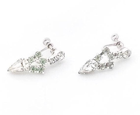 Vintage clear crystal rhinestone triangle tear drop small dangle screw back clip on earrings