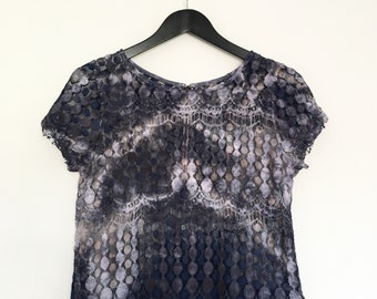 Festival Boho Tie Dye Purple Silver Grey Lace Crop Top  ~ Medium AU 10 - 12 US 8 - 10~  Grunge Hippy Faerie Fairy Rock Chick