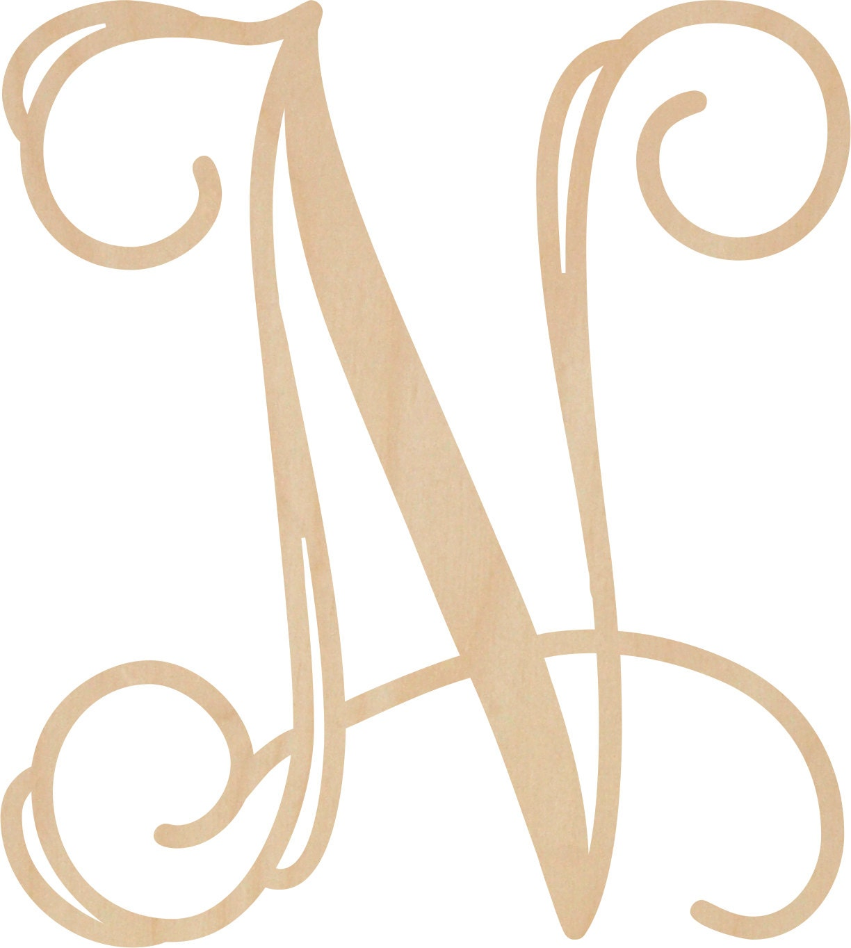 Sale Letter N Vine Script Wooden Letters In Stock From