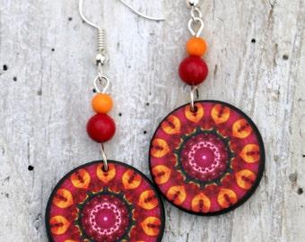 Gemstone Jewelry, Mandala Earrings, Natural Stone Dangle, Bohemian Earrings, Orange Dangling, Statement Jewelry, Colorful Gypsy, Boho Chic