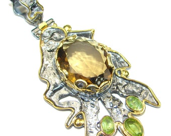 Citrine, Peridot Sterling Silver Pendant - weight 16.00g - dim L -2 3 4, W -1 3 8, t -3 8 inch - code 18-lis-15-68