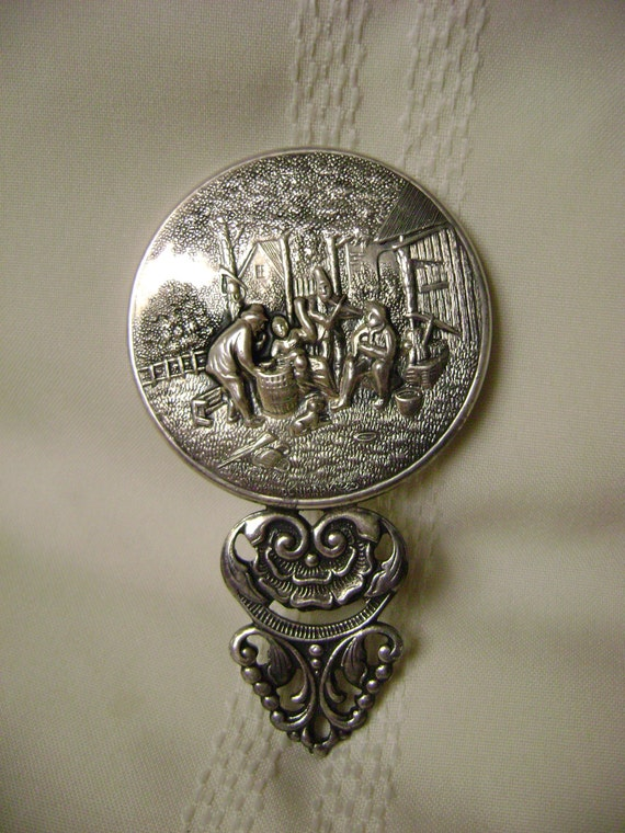Vintage Silver Hand Mirror Made In Denmark Repousee Design