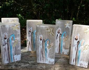 Hand Painted Nativity Scene Block