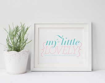 INSTANT DOWNLOAD - Little Lovely - Nursery Art - Bible Verse Art