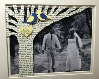 Anniversary Gift, Wedding Gift, Personalized Anniversary Gift with Song Lyrics on Tree - Customized with YOUR PICTURE and 11x14 No Frame