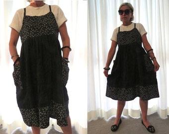 Linen dress, Women's pinafore, Jumper dress, Linen clothing, Japanese design, Maternity dress, Pure linen, Dragonflies, Handmade, Black