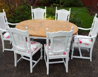 shabby chic vintage dining table and 6 carved bergere dining chairs