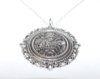 Fancy Pendant 1966 Lucky sixpence 52nd Birthday plus a Sterling Silver 18in Chain, 1966 gift, 1966 birthday, 51st gift, 51st birthday