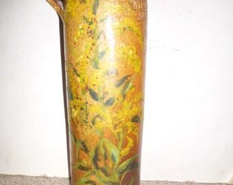 Hand painted 19th century Salt Glazed Gin crockery bottle Wynand Focking - Amsterdam - classic salt glaze with wonderful yellow flowers