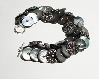 Shoe Button Bracelet With Vintage Shoe Buttons In Silver Blue MOP And Antique Pewter