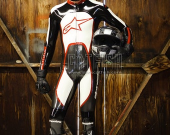 Man Rubber Latex Catsuit Available with Designs and Logos