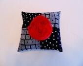 Pin Cushion , Black and White Polka Dot Pincushion , Sewing Supplies