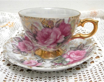 End of Summer Sale Vintage Beautiful Lusterware Pink Roses and Gold FootedTea Cup and Saucer Made in Japan, Porcelain