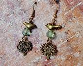 Woodland Tree Earrings, Czech Bead Earrings, Bird on a Tree Earrings, Woodland Jewelry