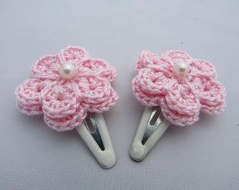 Crochet flower hair clips, hair clips, crochet hair clip