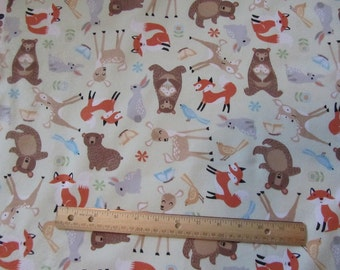 Green Woodland Animal/Fox/Bear/Deer Flannel Fabric by the Yard