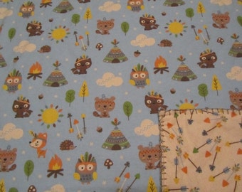Blue Tribal Woodland Animal/Fox/Owl/Beaver/Racoon Double-sided Flannel Baby/Todddler Blanket