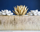 Sale: Large Tabletop Centerpiece, Three Large Succulent Sculptures in Etched Glass Container with Sparkling White Sand