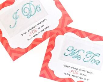 Blue Wedding I Do & Me Too Sticker for Bride's Shoes